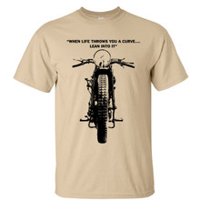 "Motorcycle t shirt ""When life throws a curve..lean into it"" Vintage Peugeot"