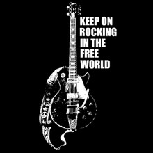 Neil Young T Shirt Keep on rocking in the free world OLD BLACK! Gibson Les Paul