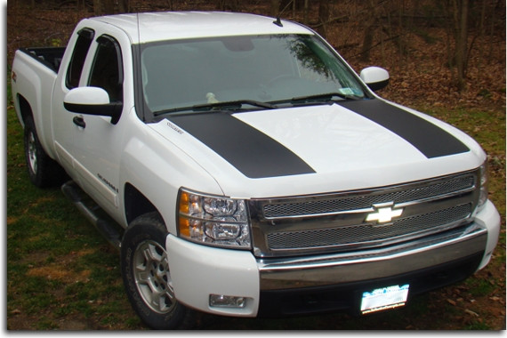 hood scoop decal stripes 07 13 silverado. Black Bedroom Furniture Sets. Home Design Ideas