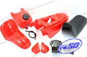 (PW50) - Package of Fender Cover (Red), Fuel Tank (Red), Seat (Black)