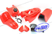 (PW50) - Package of Fender Cover, Fuel Tank, Seat (All Red)