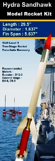 Rocketarium Flying Model Rocket Kit Hydra Sandhawk  RKM-103 +
