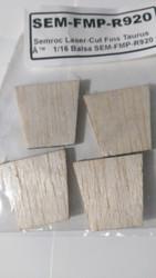 Semroc Laser-Cut Fins Taurus 1™(4fins) 1/16 Balsa SEM-FMP-R920 *