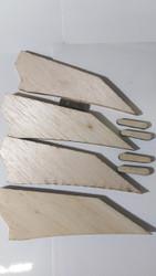 Semroc Laser-Cut Fins V-2™ 1/35 Scale  1/8 Balsa    SEM-FS-4 *