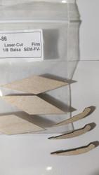 Semroc Laser-Cut Fins Sprite™  1/8 Balsa  SEM-FV-86 *