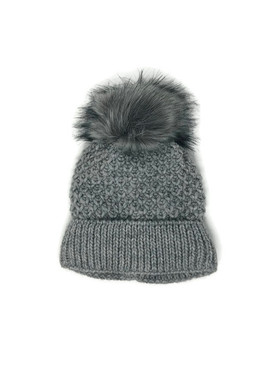 FAUX FUR POM LINED BEANIE LT GREY II
