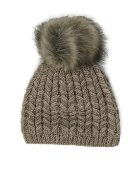 FAUX FUR POM LINED BEANIE CAFE