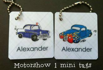 Motor Show mini tags