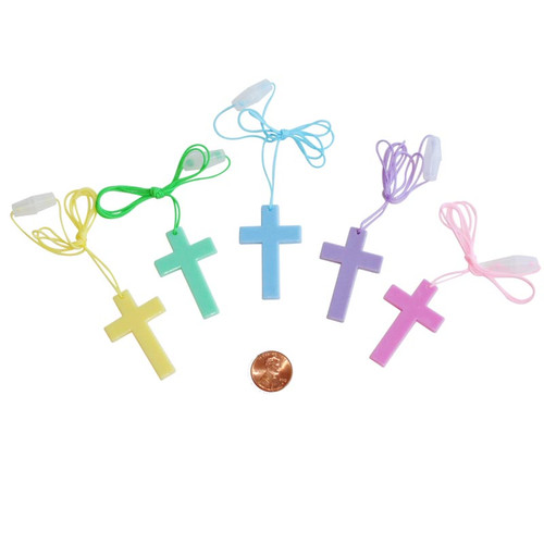 Religious Flat Acrylic: Plastic Crystal Cross Necklace -- Quality Christian Necklaces