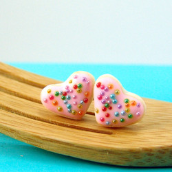 Food Jewelry - Heartthrob Butter Cookie Earrings in Pink Rainbows MADE TO ORDER
