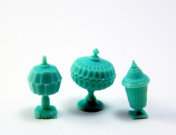 Dollhouse Miniature Candy Dish Set in Jadite - 1/12 scale