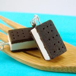 Food Jewelry Ice Cream Earrings - MADE TO ORDER Ice Cream Sandwiches Miniature Food Earrings