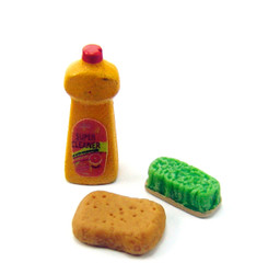 Dollhouse Miniature Kitchen Cleaning Supplies - 1/12 scale