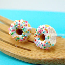 Food Jewelry // Donut Earrings with Rainbow Sprinkles Vanilla Bean Icing // MADE TO ORDER// Post Earrings