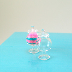 Dollhouse Miniature Jar, Rounded with Pedestal, Real Glass - 1/12 scale