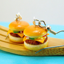 Cheeseburger Earrings Burger Earrings Food Jewelry MADE TO ORDER