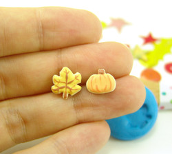 Polymer Clay Mold - Flexible Silicone Dollhouse Cookie Mold - Fall Leaf and Pumpkin for 1/12 Scale and Food Jewelry Projects