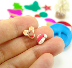Polymer Clay Mold - Flexible Silicone Dollhouse Cookie Mold - Christmas Reindeer and Santa Hat for 1/12 Scale and Food Jewelry Projects