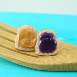 Food Jewelry // Peanut Butter and Grape Jelly Earrings, Post Earrings // PB&J Earrings