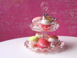 Dollhouse Miniature Tiered Dessert Display, Cake Stand, Real Glass - 1/12 scale