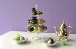 Dollhouse Miniature Tiered Dessert Display, Sweets Display, Real Glass - 1/12 scale