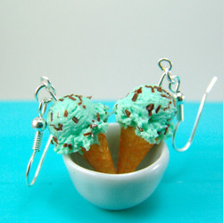 Ice Cream Earrings in Mint Chocolate Chip // Food Jewelry // MADE TO ORDER