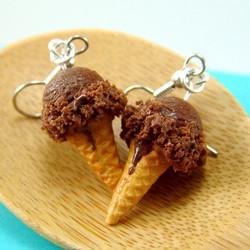 Ice Cream Earrings // Chocolate Ice Cream Food Jewelry // MADE TO ORDER Miniature Food Earrings
