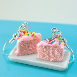 Pink Cake Earrings - Strawberry Cake with Rainbow Sprinkles MADE TO ORDER