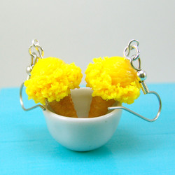 Ice Cream Earrings in Lemon Yellow Ice Cream Food Jewelry - MADE TO ORDER