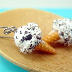 Ice Cream Earrings in Cookies and Cream Food Jewelry - MADE TO ORDER Miniature Food Earrings