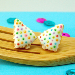 Christmas Earrings // Christmas Tree Sugar Cookie Earrings in White Chocolate // MADE TO ORDER