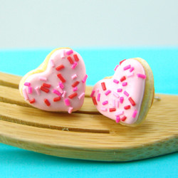 Donut Earrings Heart Shaped // MADE TO ORDER // Post Earrings // Mini Donuts Food Earrings