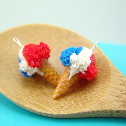 Ice Cream Earrings // Red, White and Blue Ice Cream Food Jewelry //MADE TO ORDER // Miniature Food Earrings