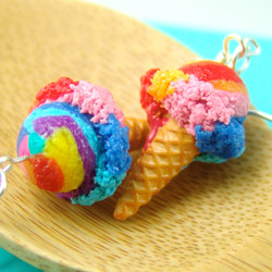 Ice Cream Earrings in Carnival Rainbow // MADE TO ORDER // Miniature Food Earrings