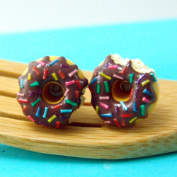 Chocolate Glazed Donut Earrings with Rainbow Sprinkles  // MADE TO ORDER