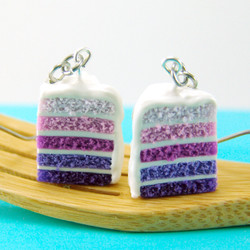 Ombre Earrings // Purple Ombre Cake Earrings // Food Jewelry Food Earrings // MADE TO ORDER