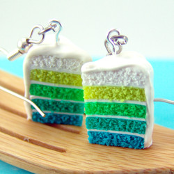 Ombre Earrings // Green Ombre Cake Earrings // Food Jewelry Food Earrings // MADE TO ORDER