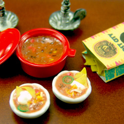 SALE Dollhouse Miniature Food // Miniature Chili and Tortilla Chips // 1:12 Scale Food