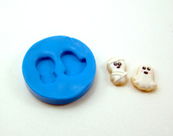 Silicone Mold // Dollhouse Ghost and Mummy Cookie Mold in 1/12 Scale // Halloween Mold