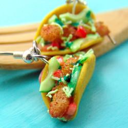 Food Earrings // Fish Taco Earrings MADE TO ORDER // Fast Food Jewelry // Dangly Earrings