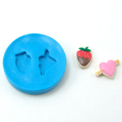 Dollhouse Miniature Cookie Molds // Valentine's Day Heart and Strawberry Cookie Molds // Flexible Silicone Mold