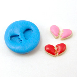 Dollhouse Miniature Cookie Molds // Valentine's Day Broken Heart Cookie Molds // Flexible Silicone Mold