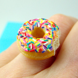 Food Ring // Donut Ring in Rainbow Sprinkles Deluxe // Adjustable Ring // MADE TO ORDER // Gifts for Her