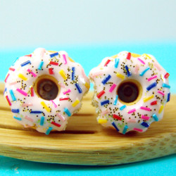 Donut Earrings with Sprinkles and Glitter // MADE TO ORDER // Post Earrings
