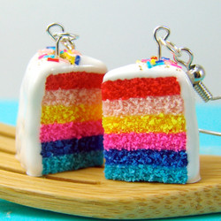 Cake Earrings // 80s Colors Layer Cake Earrings // Food Jewelry Food Earrings // MADE TO ORDER