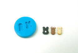 Dollhouse Miniature Bunny Cookies Mold (A) //  Flexible Silicone Mold