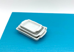 Dollhouse Miniature Casserole Dish Set of Three - 1/12 scale