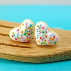 Food Jewelry // Heart Shaped Cookie Earrings in Rainbow Kissed //MADE TO ORDER // Post Earrings
