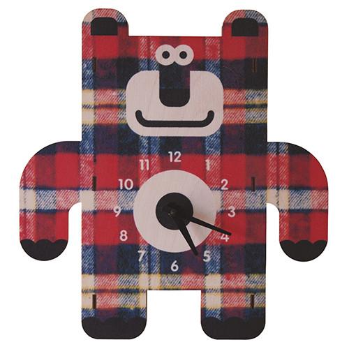 Modern Moose 3D Wall Clock (front on view) - Bear