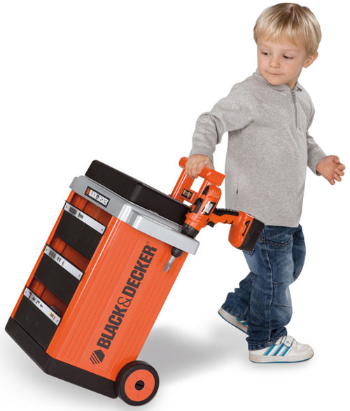 Smoby Kids Black Amp Decker Childrens Workbench Trolley Tool